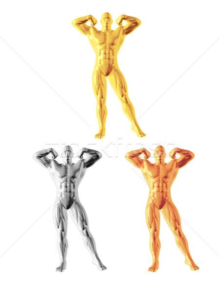 Soyut vücut geliştirmeci anlamaya altın gümüş bronz Stok fotoğraf © unweit