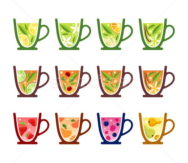 различный чай оранжевый красный клубника черный Сток-фото © unweit