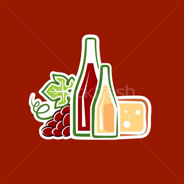 üzüm şarap peynir yaprak cam sanat Stok fotoğraf © unweit