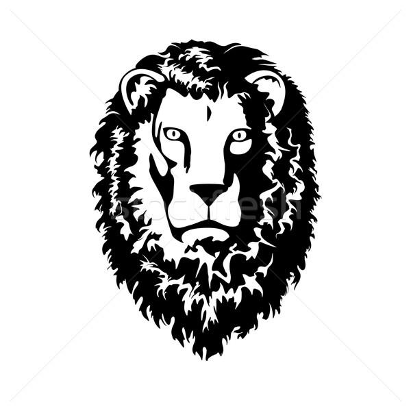 Głowie lew odizolowany biały podpisania zwierząt Zdjęcia stock © unweit