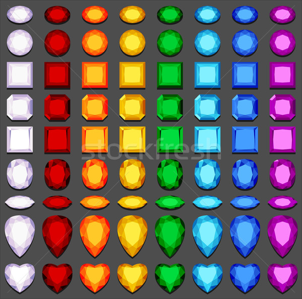 Kolekcja inny błyszczący zestaw kolorowy kamieni Zdjęcia stock © unweit