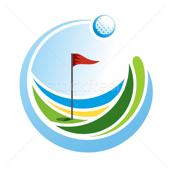 Golf embleem abstract logo groene veld Stockfoto © unweit