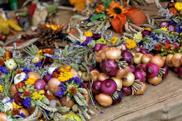 Soğan sarımsak taze pazar sebze yaz Stok fotoğraf © unweit