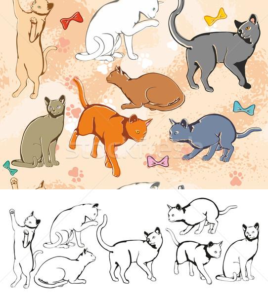 Naadloos katten kat dieren achtergronden Stockfoto © unweit