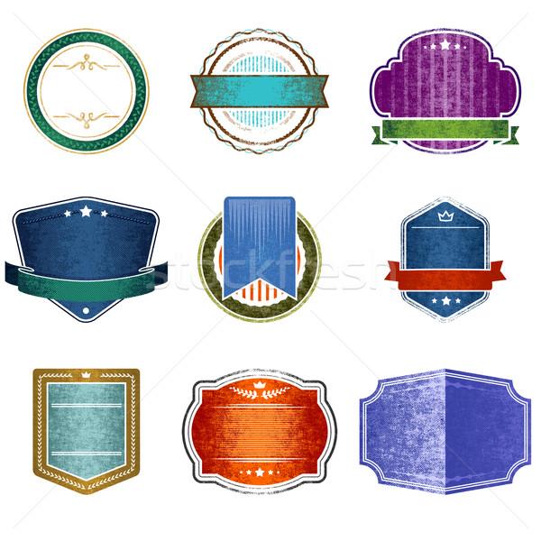 Retro odznaki zestaw dziewięć projektu elementy Zdjęcia stock © unweit