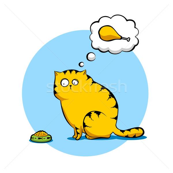 üzücü kedi örnek oturma çanak gıda Stok fotoğraf © unweit