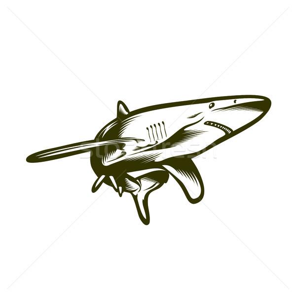 Mare rechin stil înot vector Imagine de stoc © unweit