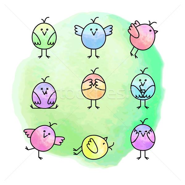 Photo stock: Drôle · oiseaux · neuf · différent · passions · couleur · pour · aquarelle