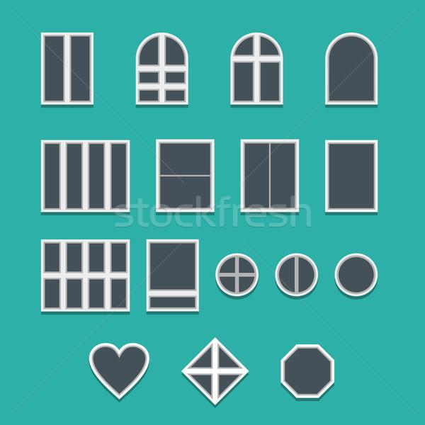 Windows collectie moderne frame architectuur Stockfoto © unweit