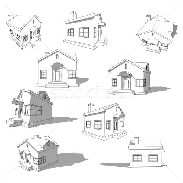 Szkic streszczenie domu proste biały dziewięć Zdjęcia stock © unweit
