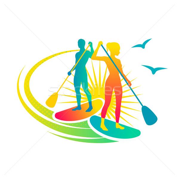 Człowiek kobieta stałego wody sportowe lata Zdjęcia stock © unweit