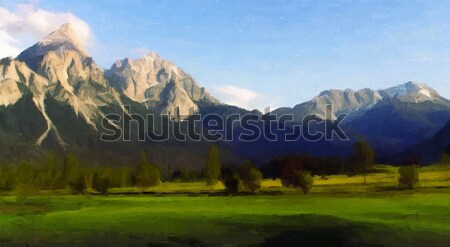 Dağ manzara akşam dijital taklit boyama Stok fotoğraf © unweit