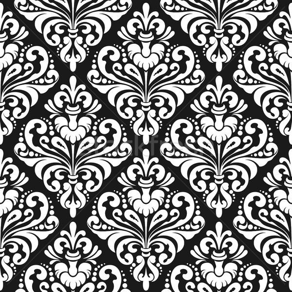 Adamaszek tapety biały bezszwowy wzór czarny Zdjęcia stock © unweit