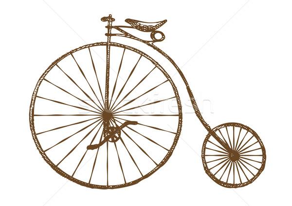 Vecchio stile bicicletta retro bike ruota disegno Foto d'archivio © unweit