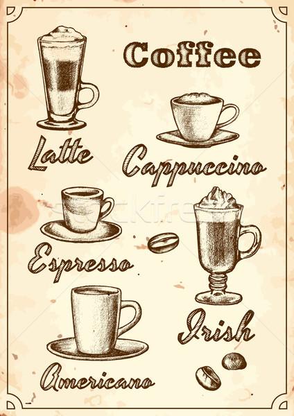Kawy menu zestaw pięć restauracji pić Zdjęcia stock © unweit