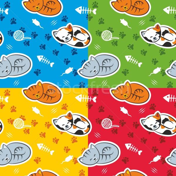 Stockfoto: Katten · vier · kleur · patroon
