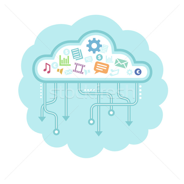 Gegevens wolk Blauw business bouw Stockfoto © unweit