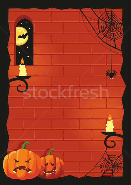Halloween pompoenen frame geen gradiënten maan Stockfoto © unweit