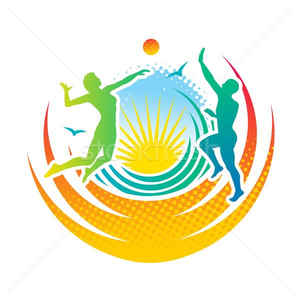 Tengerpart röplabda férfi nő játszik nők Stock fotó © unweit