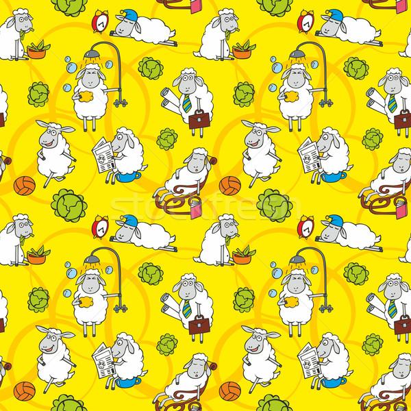Vector pattern with cartoon sheep Stock photo © unweit