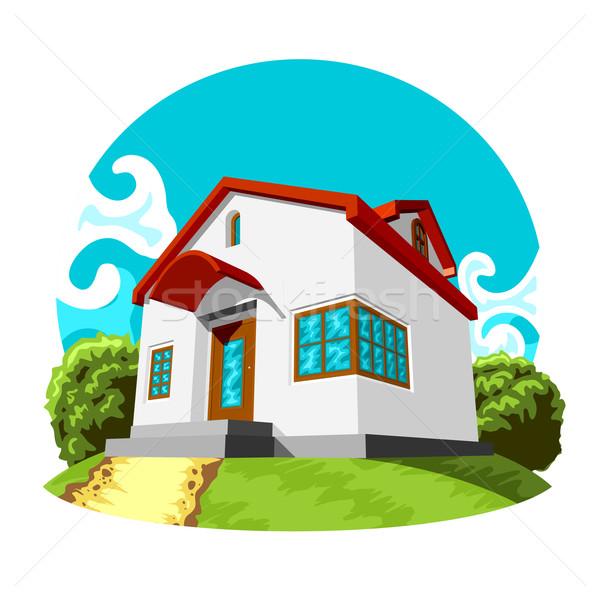 Klein huis illustratie vector groene gazon Stockfoto © unweit