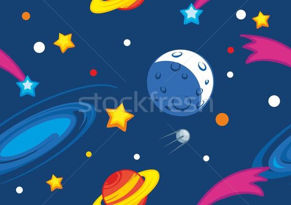 Photo stock: Espace · planètes · étoiles · bleu · design