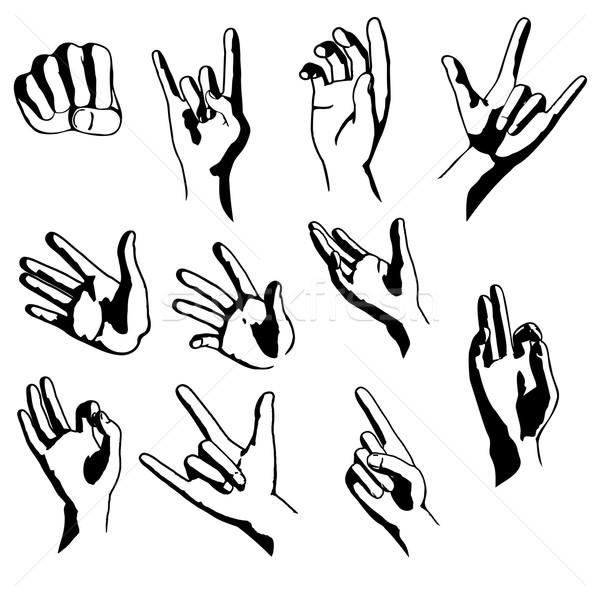 Ręce inny pozycje kolekcja jeden kolor Zdjęcia stock © unweit