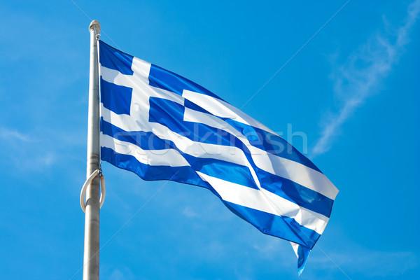 Banderą Grecja wiatr Błękitne niebo niebo Zdjęcia stock © unweit