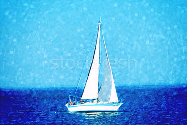 Zeilboot zee naar afbeelding hemel water Stockfoto © unweit