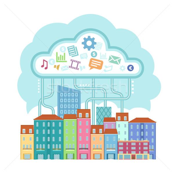 Gegevens wolk klein stad hemel huis Stockfoto © unweit