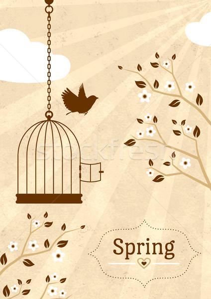 Vintage wiosną karty ciepły serca ptaków Zdjęcia stock © unweit