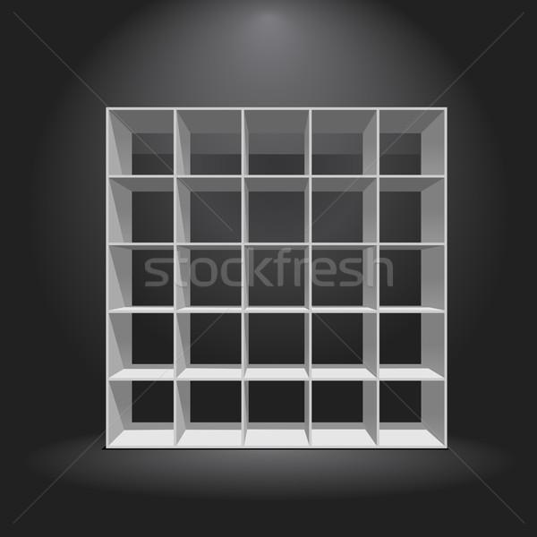 Pusty biały półka na książki ciemne czyste pojemnik Zdjęcia stock © unweit