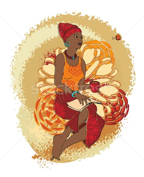 Afrika kadın fincan çay kitap güzellik Stok fotoğraf © unweit