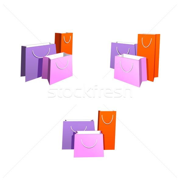 üç renkli kâğıt kırmızı alışveriş Stok fotoğraf © unweit