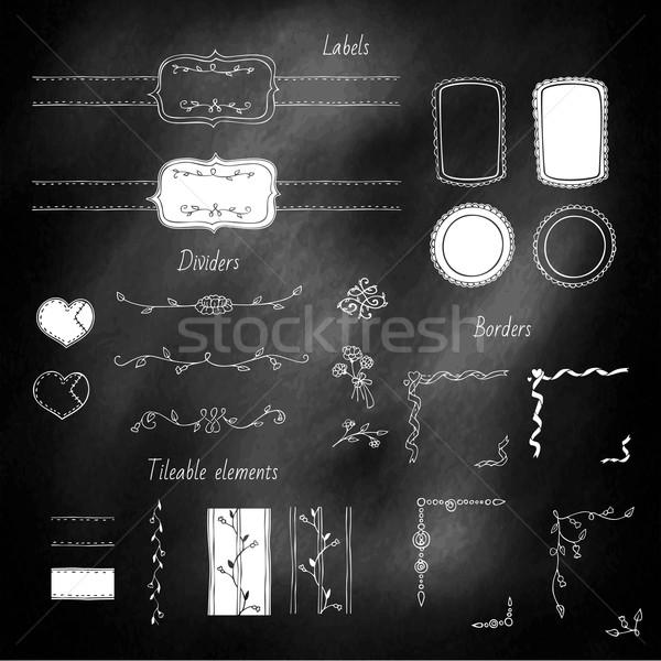 Ontwerp communie ingesteld Blackboard hand frame Stockfoto © unweit