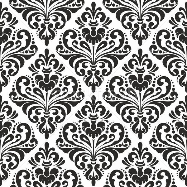 Damast behang zwart wit naadloos patroon zwarte Stockfoto © unweit