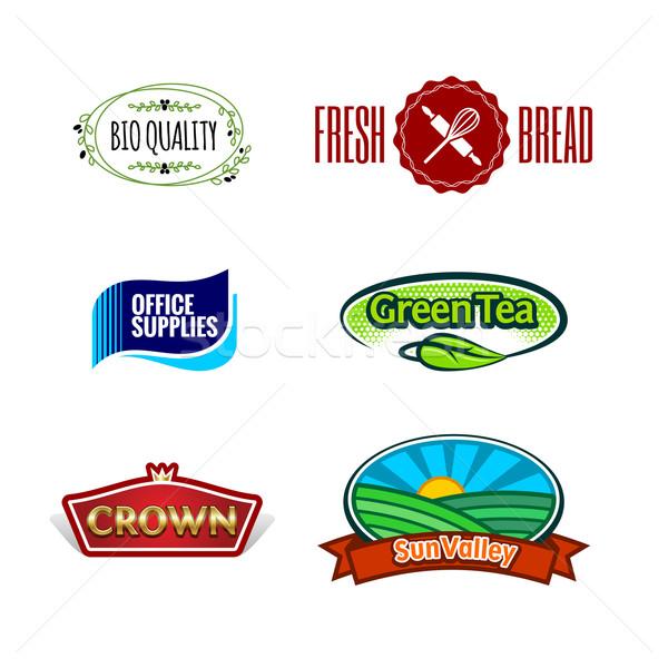 Soyut etiketler toplama vektör altı Stok fotoğraf © unweit