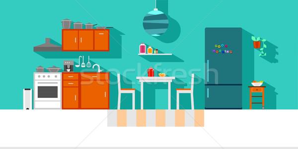 Mały kuchnia wnętrza kuchni projektu wibrujący kolory Zdjęcia stock © unweit