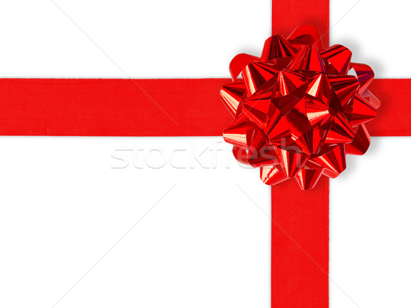 Red Gift Ribbon Over White Stock photo © UPimages