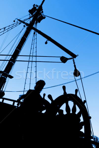 силуэта морской человека небе лет синий Сток-фото © UPimages