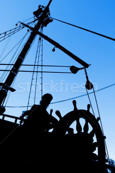 Silhouet mariene man hemel zomer Blauw Stockfoto © UPimages