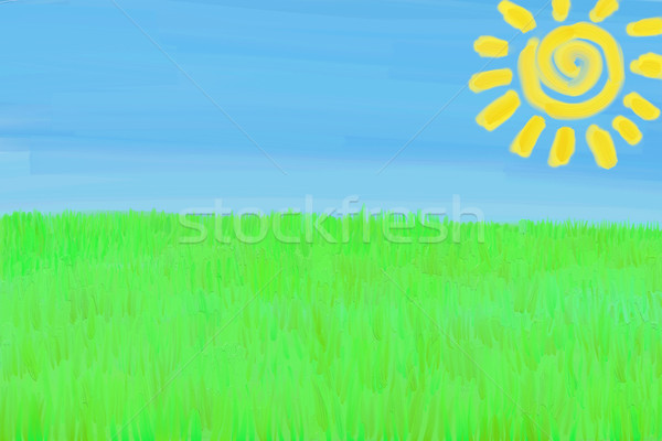 Stock photo: Child's Drawing Landscape (drawing with paint texture)