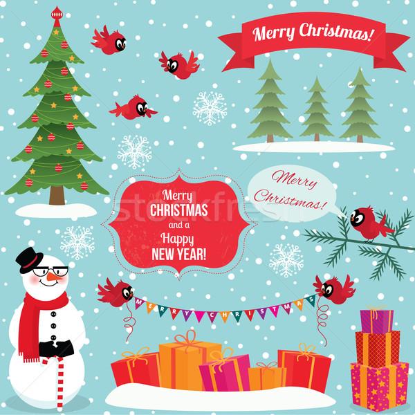 Zestaw christmas graficzne elementy projektu nowy rok Zdjęcia stock © UrchenkoJulia