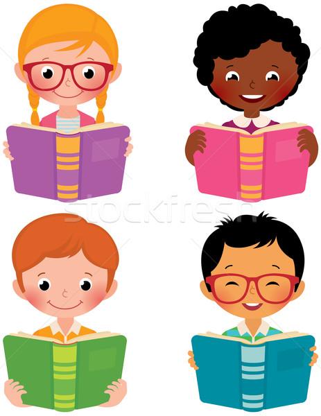 Crianças ler livros estoque vetor desenho animado Foto stock © UrchenkoJulia