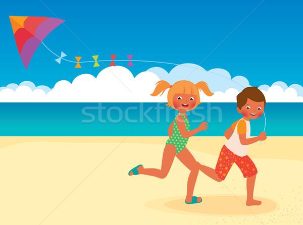 çocuklar çalışma uçurtma plaj stok vektör Stok fotoğraf © UrchenkoJulia