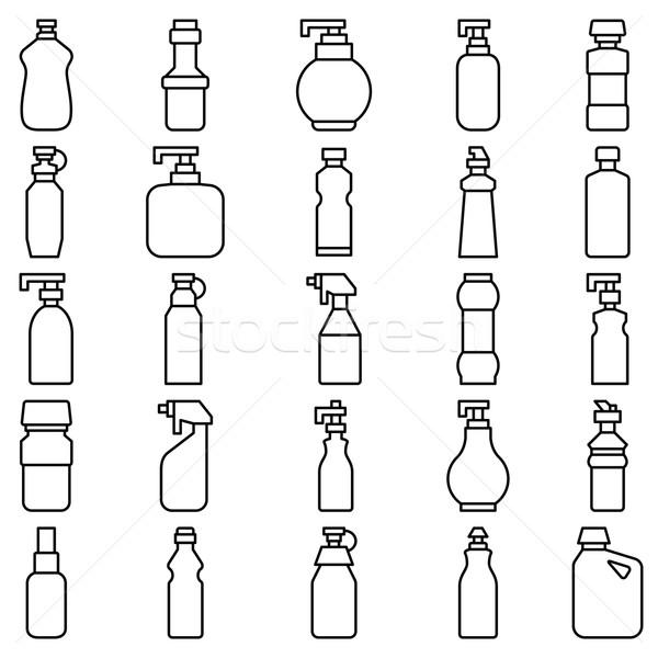 Zestaw sylwetki plastikowe butelek inny czas Zdjęcia stock © UrchenkoJulia