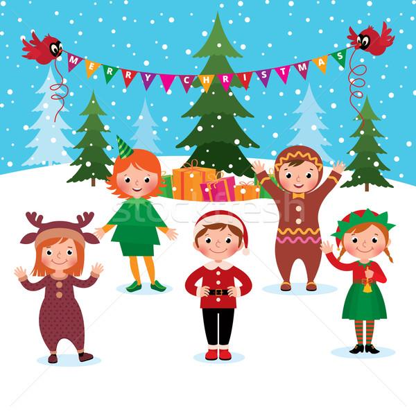 Kinderen vieren christmas nieuwjaar cartoon groep Stockfoto © UrchenkoJulia