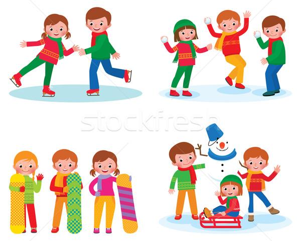 セット 子供 冬 活動 在庫 孤立した ストックフォト © UrchenkoJulia