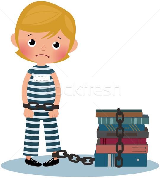 Criança prisioneiro triste menino crianças cara Foto stock © UrchenkoJulia
