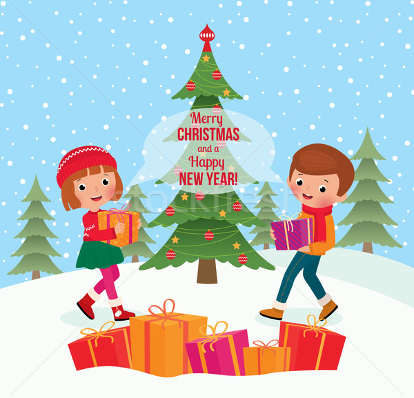 Dzieci dać christmas prezenty świętować inny Zdjęcia stock © UrchenkoJulia